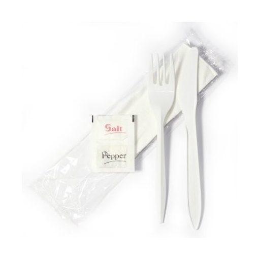 Tacamuri plastic LUX Furculita Cutit Servetel Sare+Piper BIS transparent - 100buc/set